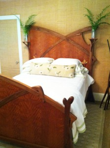 Art Nouveau Bed by William ?doub at Brightholme Designer Showcase, Bar Harbor, ME 2013.  Bill is represented by The Gallery at Somes Sound, Somesville, ME.