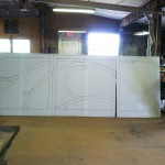 This is the full scaale drawing of the upper three sections of the gallery, photographed in shop 6-20-2012.