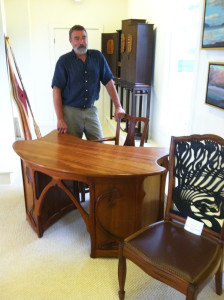 The Art Nouveau Desk and  Mackmurdo chair on exhibit at The Gallery at Somes Sound, Bar Harbor, ME. Both sold this fall.