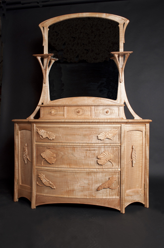 Curly Maple Dresser with Lotus Carvings,  Mirror and Gallery